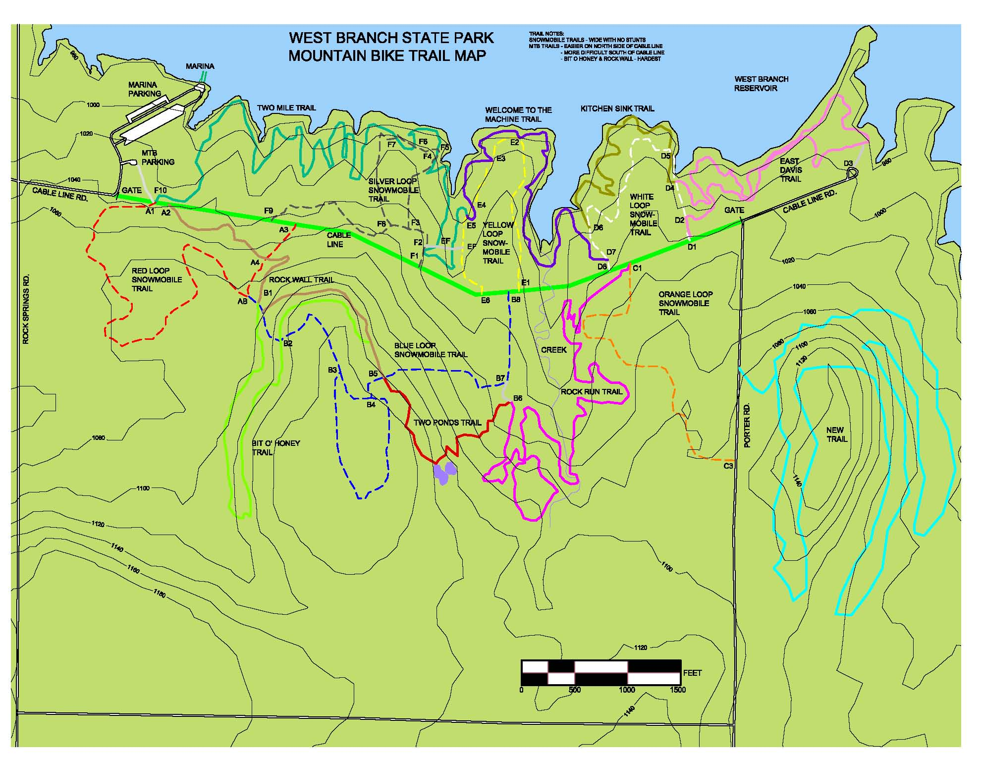West Branch Map Cleveland Area Mountain Bike Association